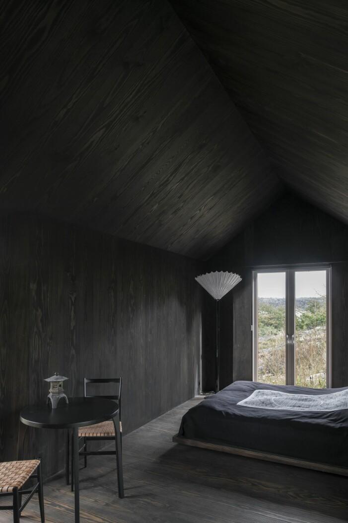 Gästhus helt i svart med utsikt på Äggdal.