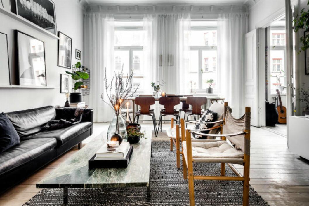 Kombinerat kök och vardagsrum där gardinerna ramar in varje fönster utan att stänga ute ljus