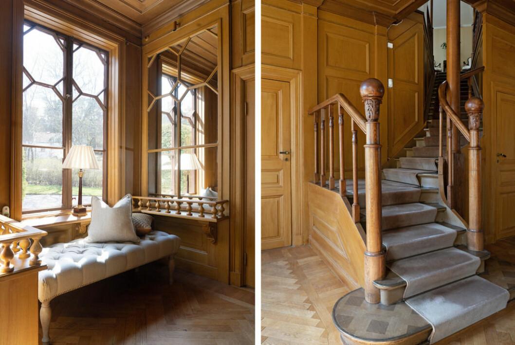 Detaljer från entrén. Sittplats och trappa upp till övre plan.