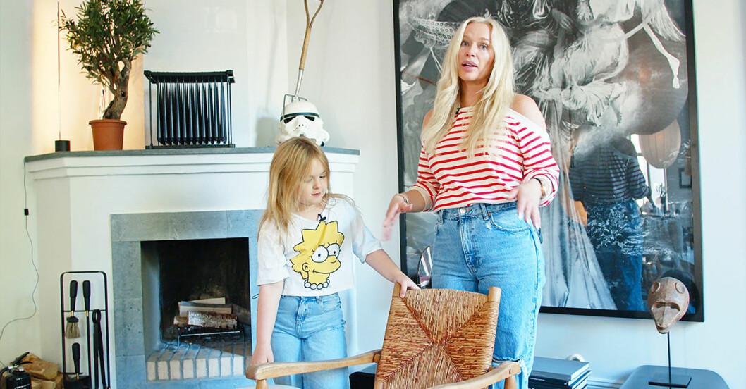 Isabel Adrian och dottern Winter visar upp nya lägenheten.