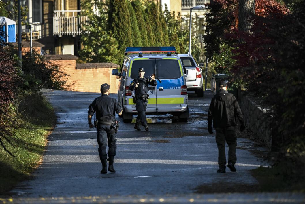 Polisen var på plats under razzian.