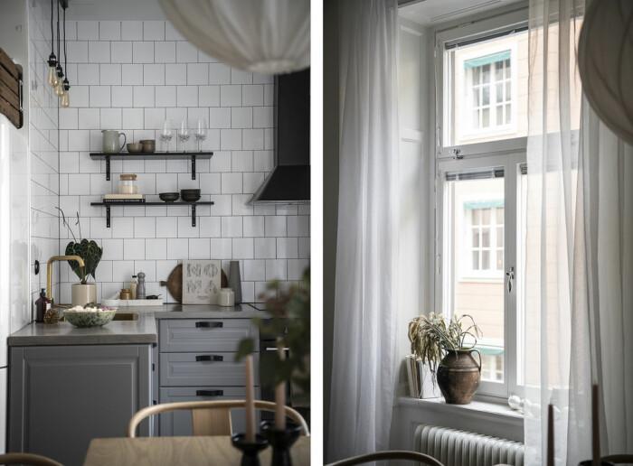 Kök och fönster i Angelica Blicks sekelskifteslägenhet