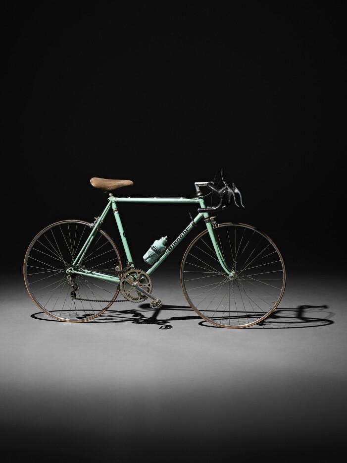 Lars Noréns älskade cykel från Bianchi 1973-74, har en celestefärgad ram, tio växlar och 6-tums hjul.