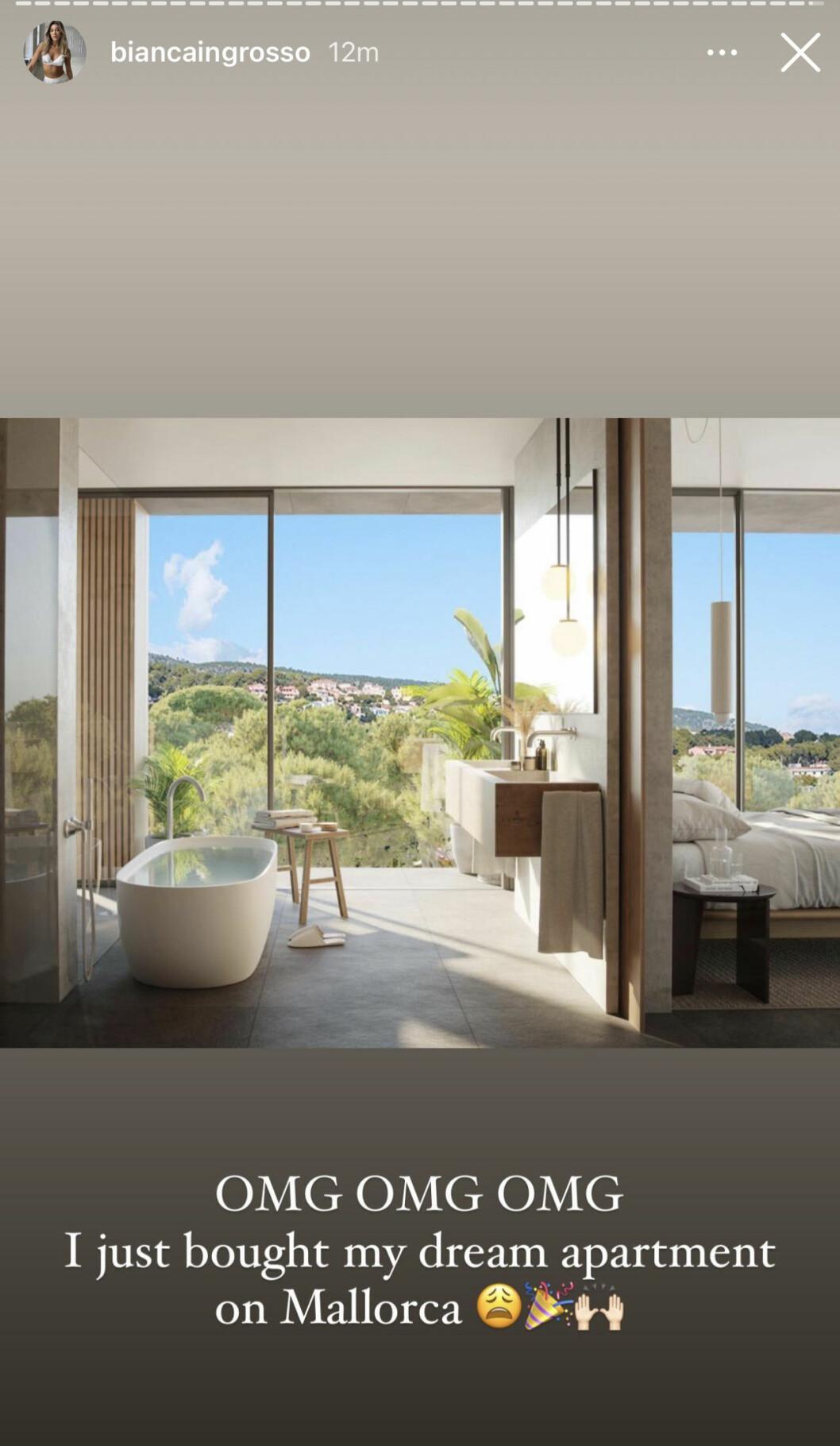 Bianca Ingrosso köpte precis en ny lägenhet.