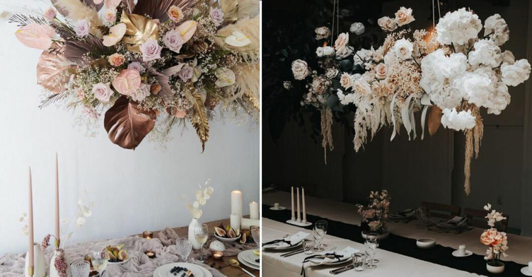 Blommor som hänger från taket över ett bord