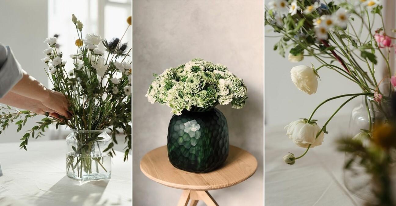 Tre vackra blombuketter i tre olika vaser.
