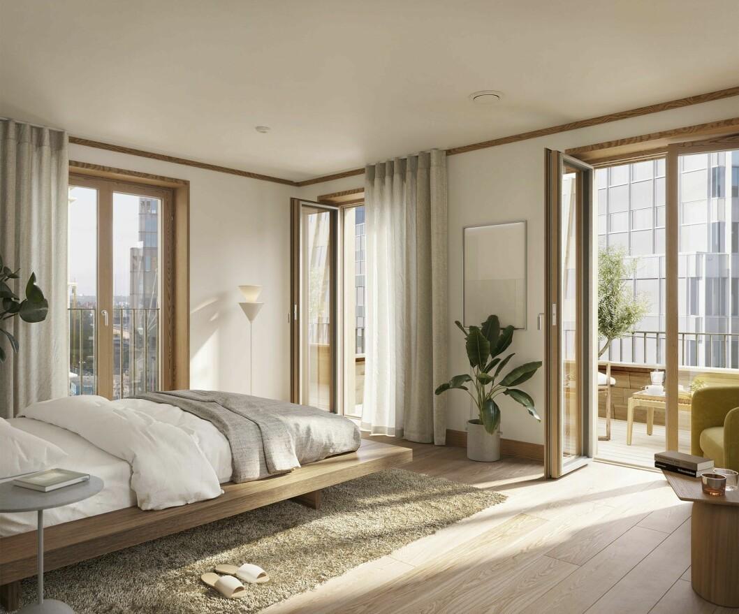 Vilsamt och avskalat sovrum med privat balkong.