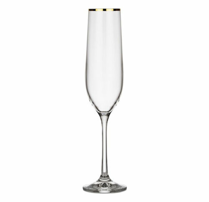 champagneglas med guldkant