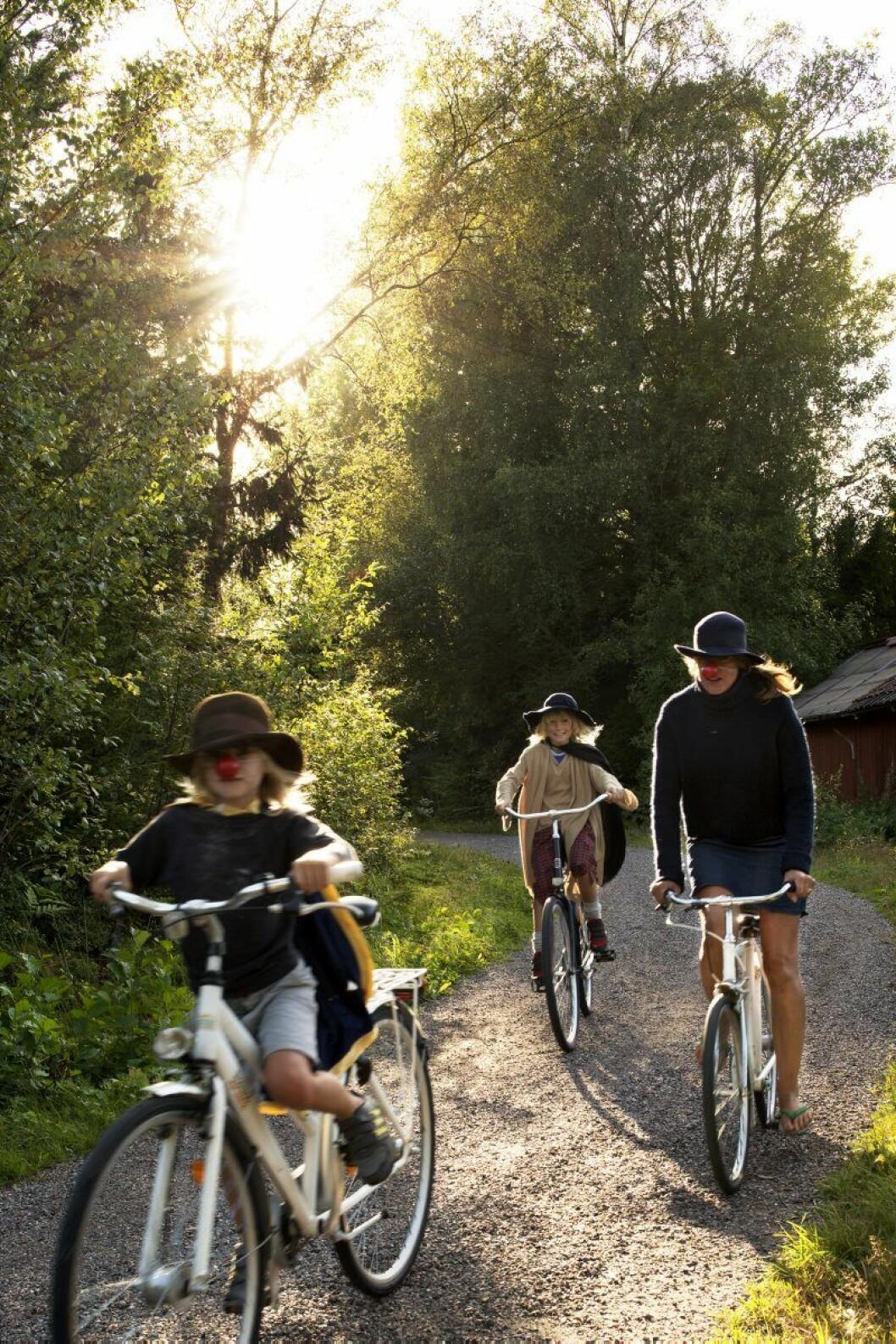 Se upp i backen, här kommer sommaren! Emma och barnen Julle och Fabbe i full karriär på cykel. På Arholma finns inga bilar.