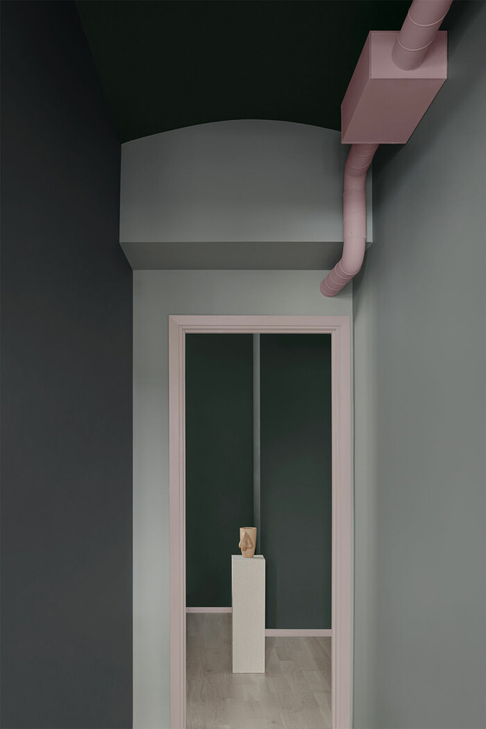 hall målad i olika färger i colour blocking stil