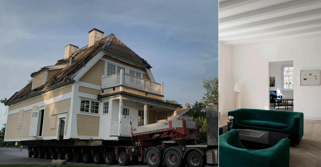 Villa flyttas med lastbil i Djursholm