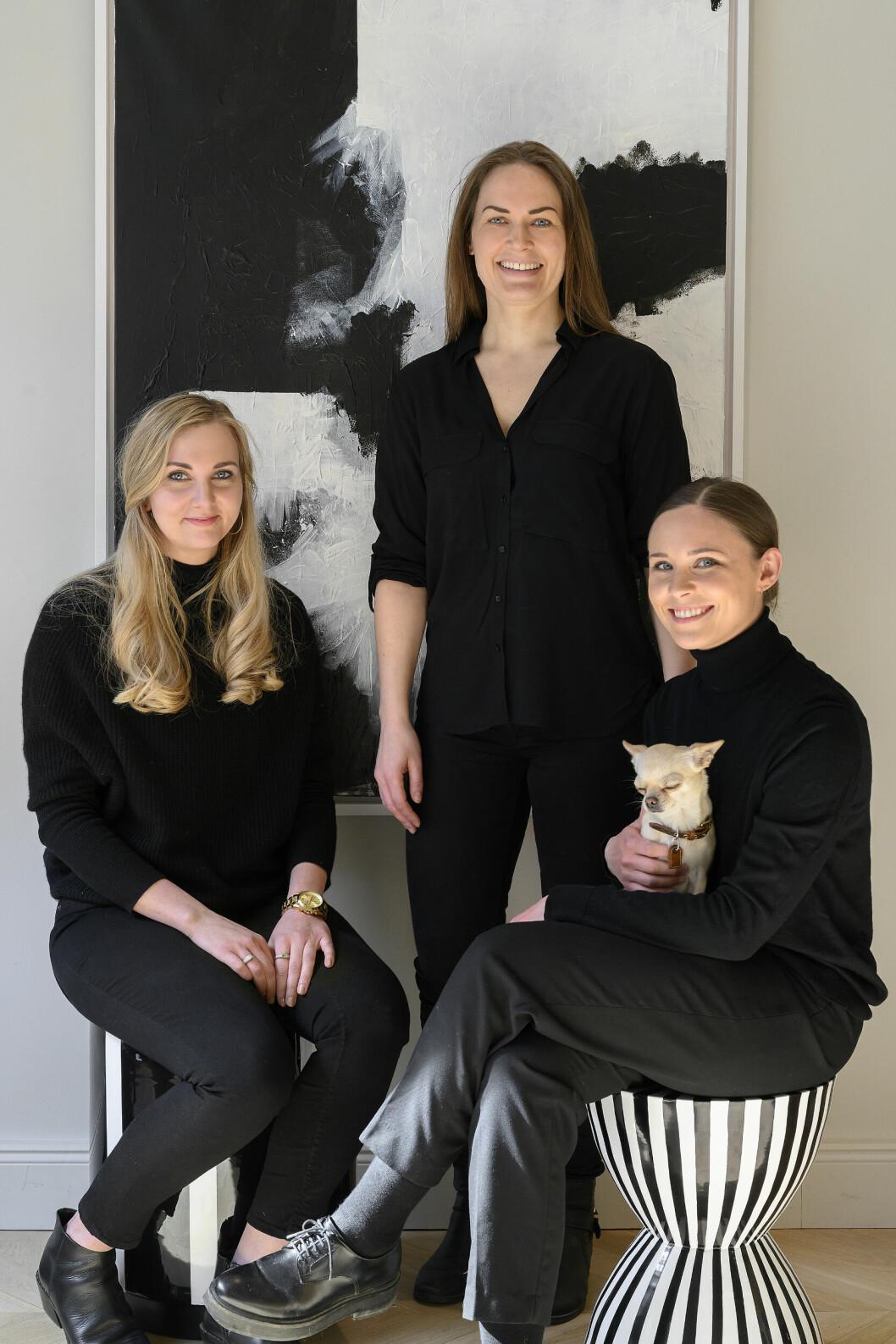 Byrån Refine Design Studio. Från vänster: Beatrice Wirsén (inredningsarkitekt), Natalie Strömberg (grundare och ägare) och Alice Genberg (designer).