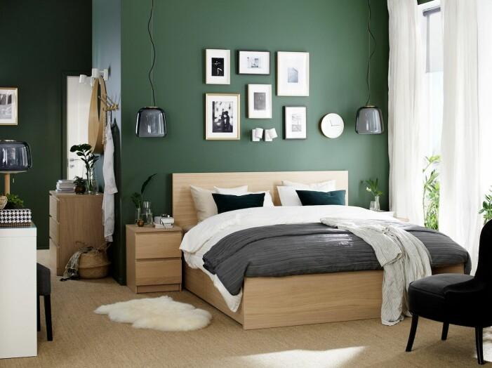 Mörkgrön tapet med ljusa möbler