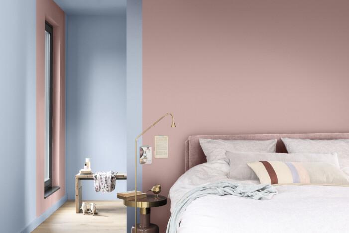 Färgtrender 2022, color blocking rosa blått