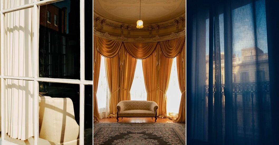 Långa gardiner för sovrum och vardagsrum som skapar hotellkänsla hemma.
