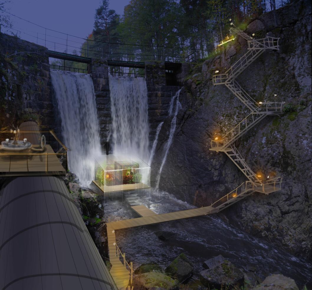 Hotell Forell är ett hotell i glas som ska byggas delvis under ett vattenfall.