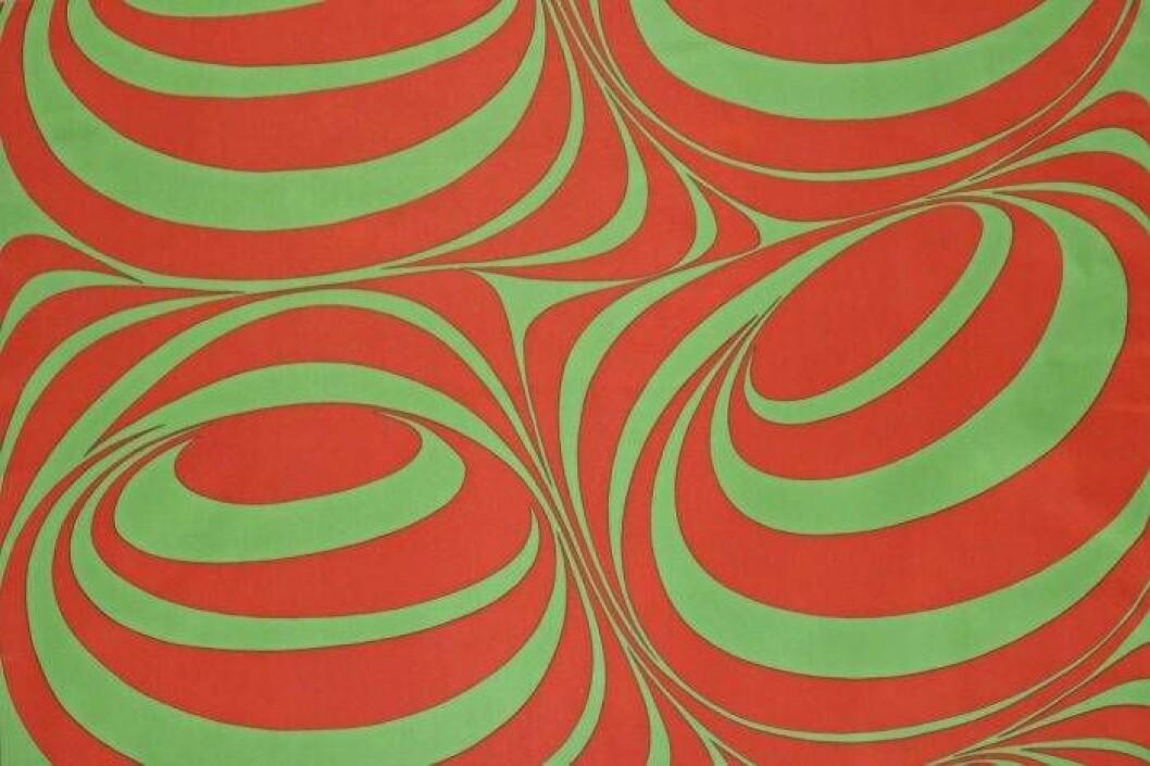 Göta Trägårdhs textilmönster Monolog med rundade former och fält, här i rött och grönt
