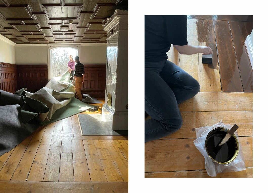 Erika föreslår en fernissa golvet med lite linoljefärg för en mörkare ton. Så blir det!