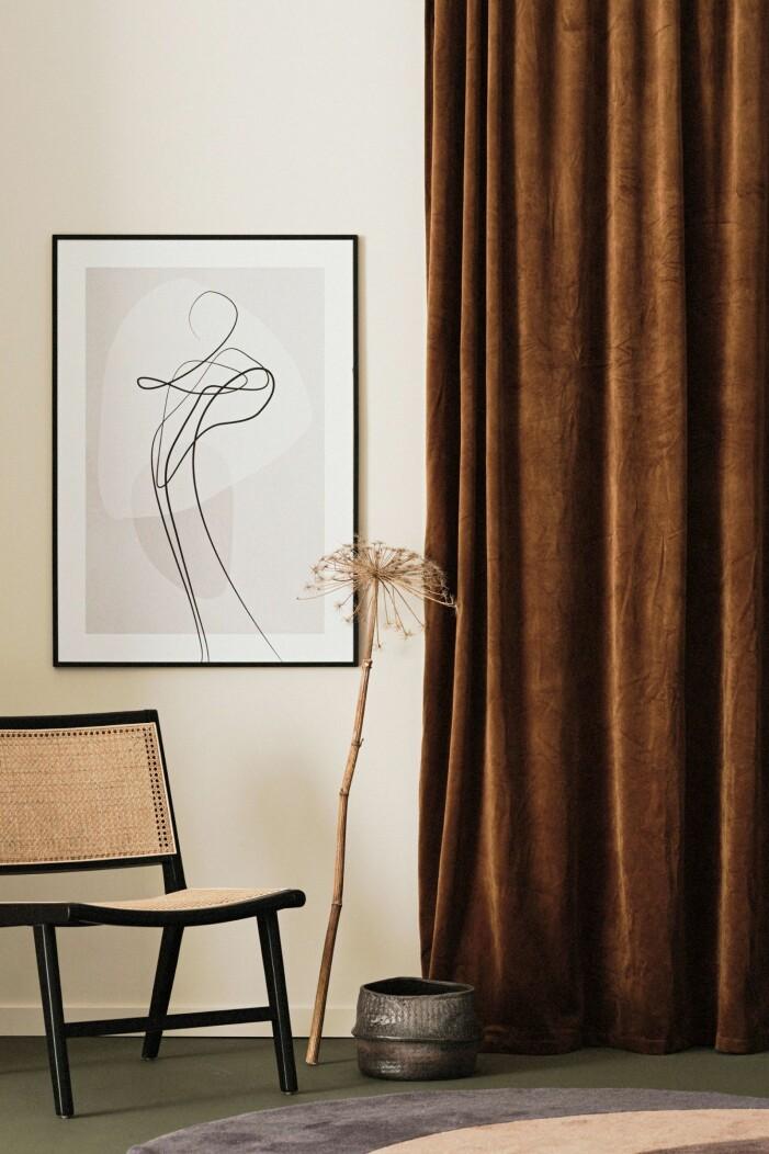Mörkbruna gardiner från Ellos Home