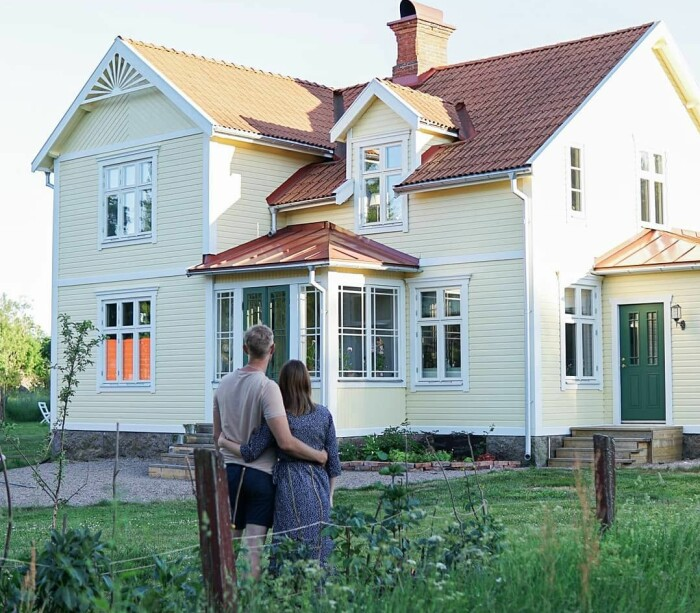 Husets exteriör efter renoveringen.