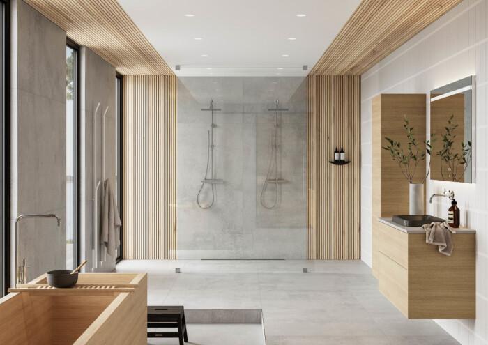 skandinavisk och japansk stil i badrummet