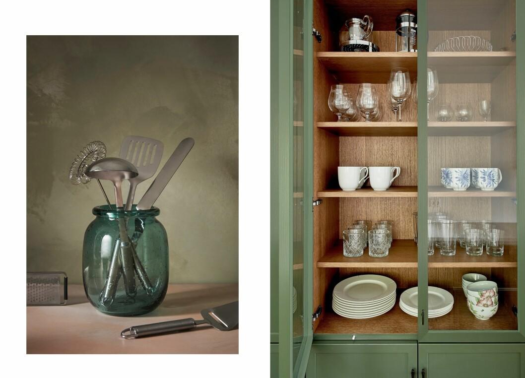 Till vänster: Köksredskap, Anders Petter, Stenfors, pris från 99 kr, Cervera Till höger: Vitrinskåp, Atelier, färg Mossa, pris vid förfrågan, Kvänum