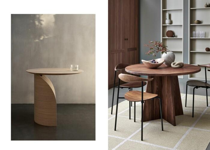 Till vänster: Bord, Savoa, design av Sakari Hartikainen, pris 9 900 kr, Swedese Till höger: Matta, Ada, färg Cream, storlek från 70x100-180x260 cm, pris från 800 - 6 300 kr, Pappelina