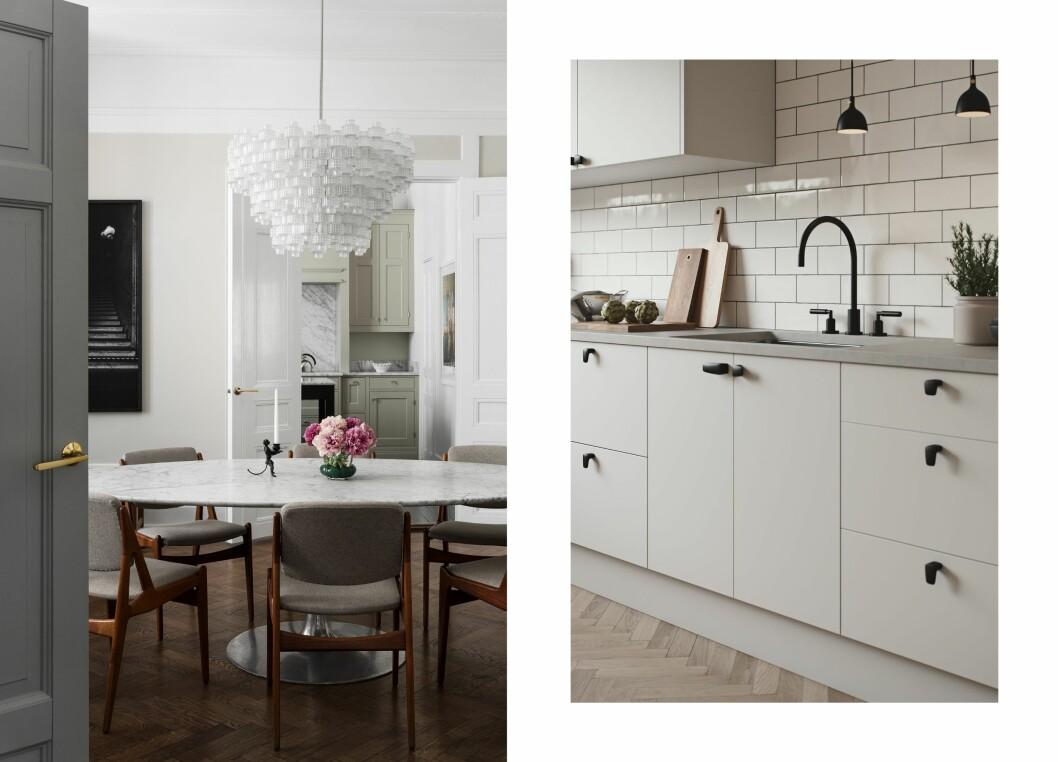 Till vänster: Dörrhandtag, TS1, mässing, pris 750 kr, Habo Selection Till höger: Knopp, MF1:2 och MF1:3, design av Monica Förster, färg svart, pris 600 kr/par, Habo Selection