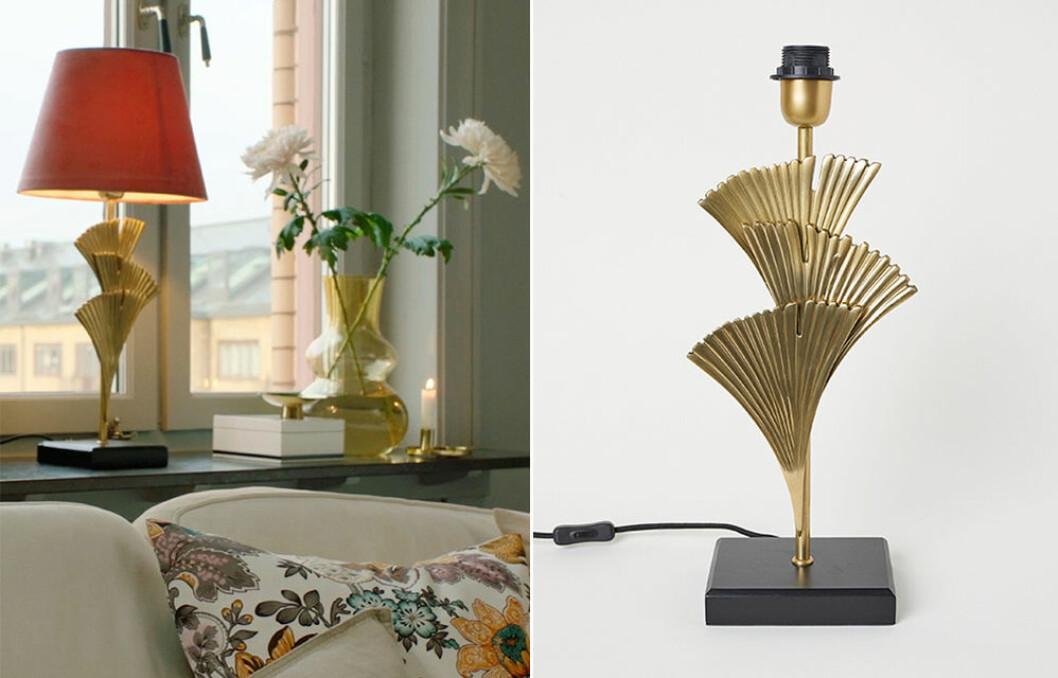 bordslampa i guld från H&M Home på rea
