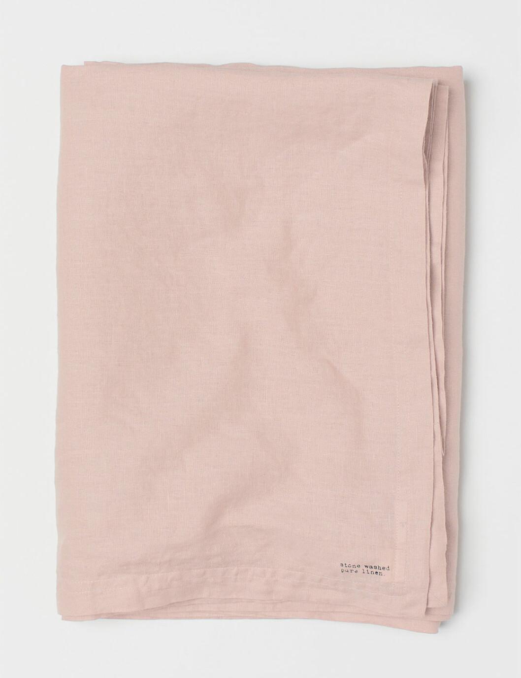 rosa duk i tvättad linne från H&M home