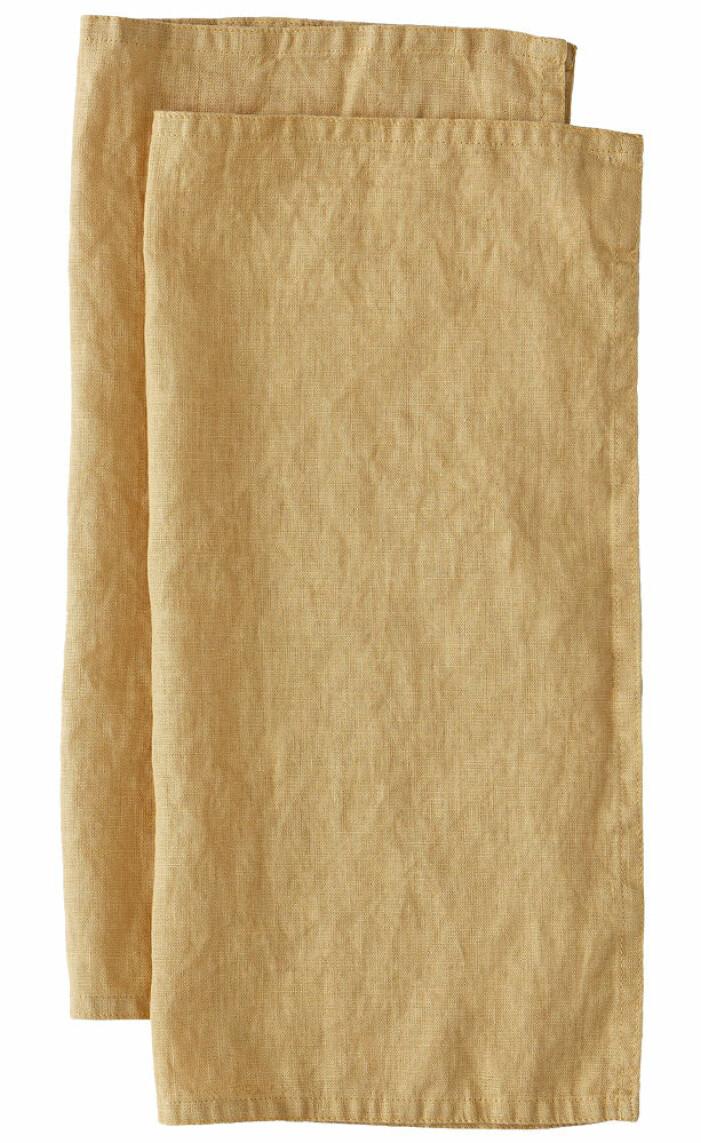 gula linneservetter från ellos