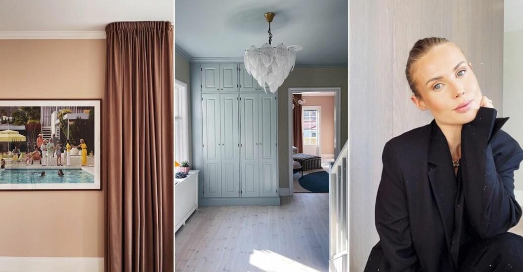 Maja Nilsson Lindelöf visar bilder från nyrenoverade huset.