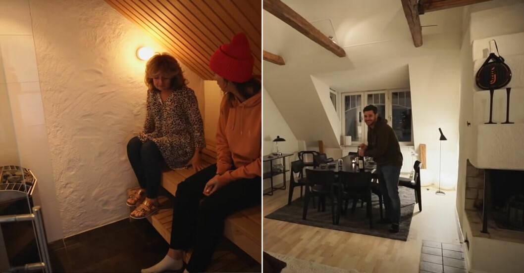 Margaux och mamman i bastun och Sean i vardagsrummet