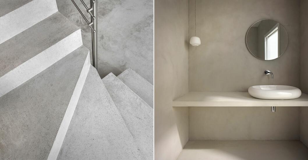 Microcement på trappa, golv och i badrum