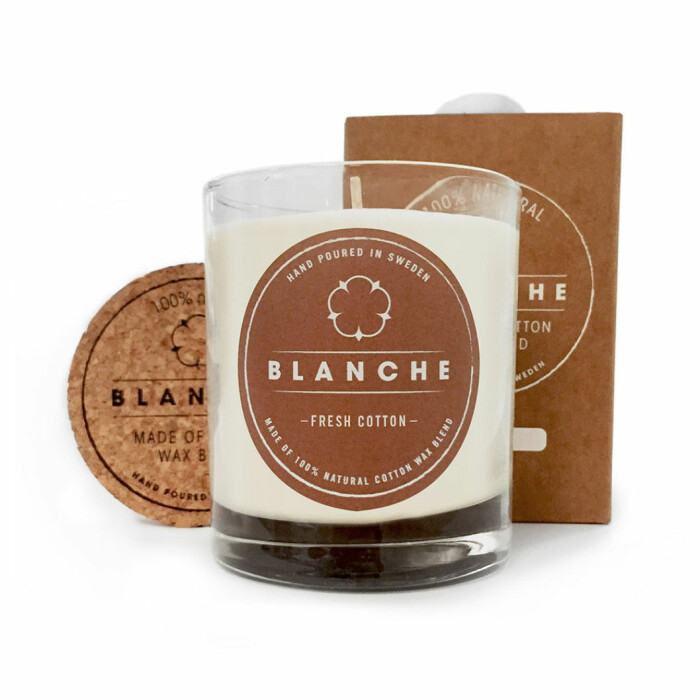 miljövänligt doftljus blanche fresh cotton