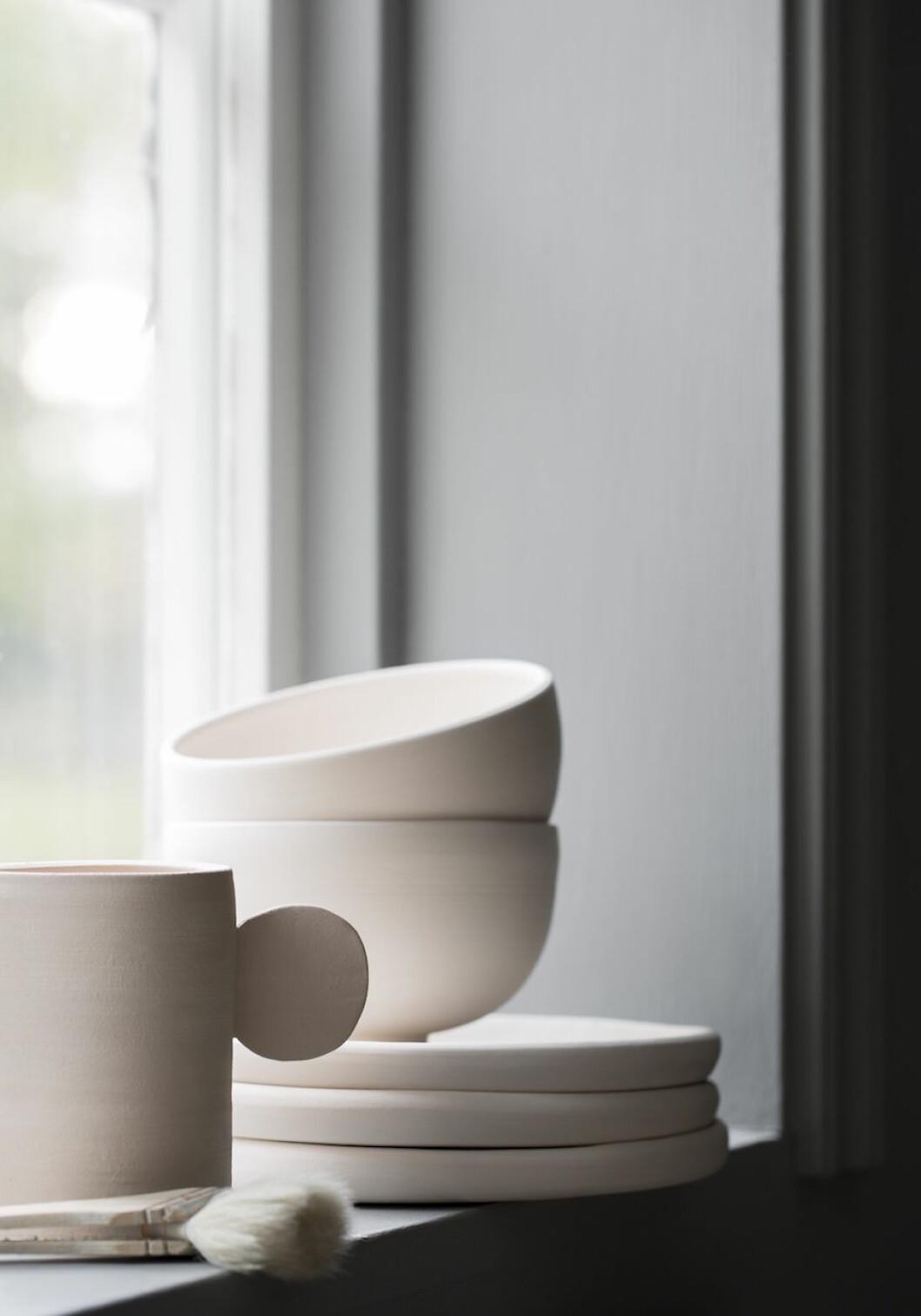 Närbild på Ida Svärdströms keramikserie Halo.