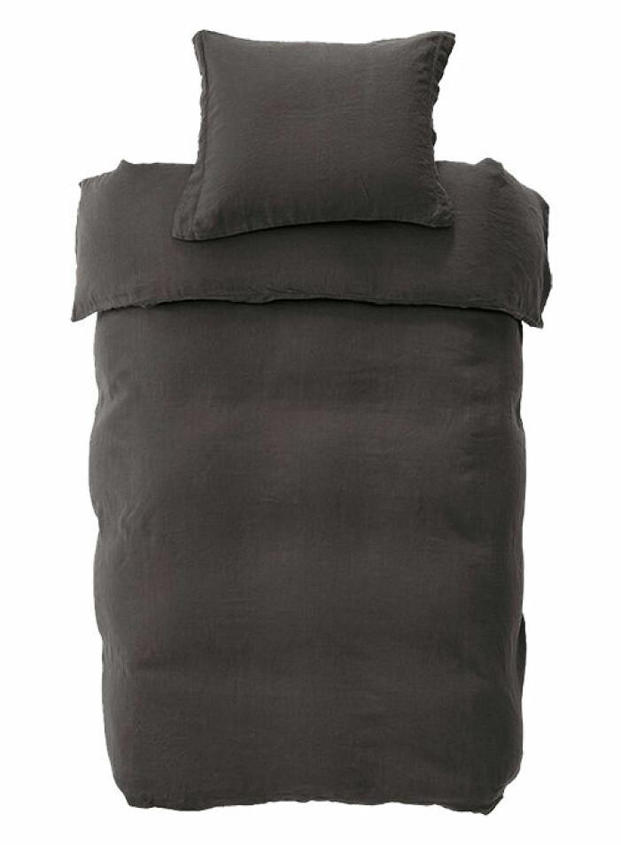 mörkgrått påslakanset i linne