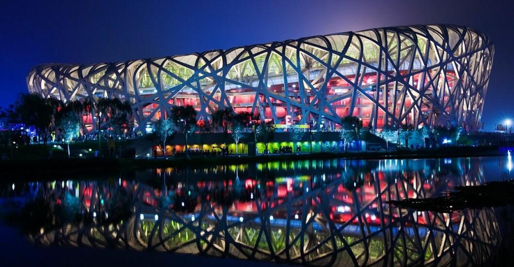 Arenan Fågelboet som byggdes för olympiska spelen i Peking år 2008.