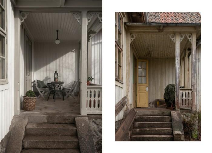 Östra verandan efter och före.