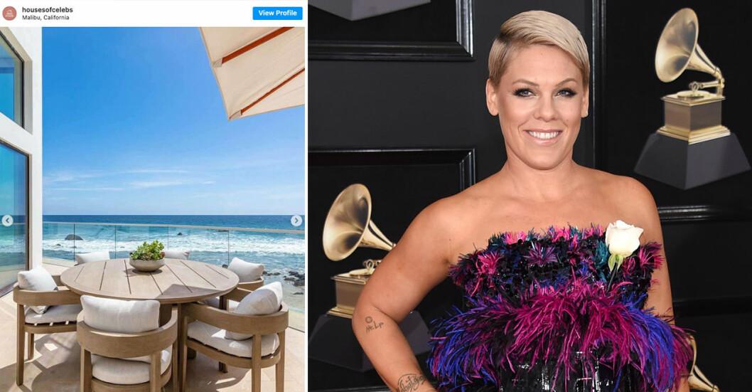 Fantastiska strandhuset i kändistäta Malibu ägs av sångerskan Pink.