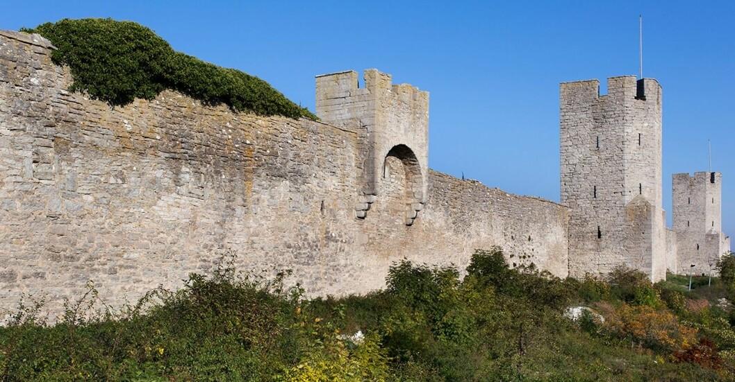 Ringmuren som sträcker sig runt Visby, Gotland.