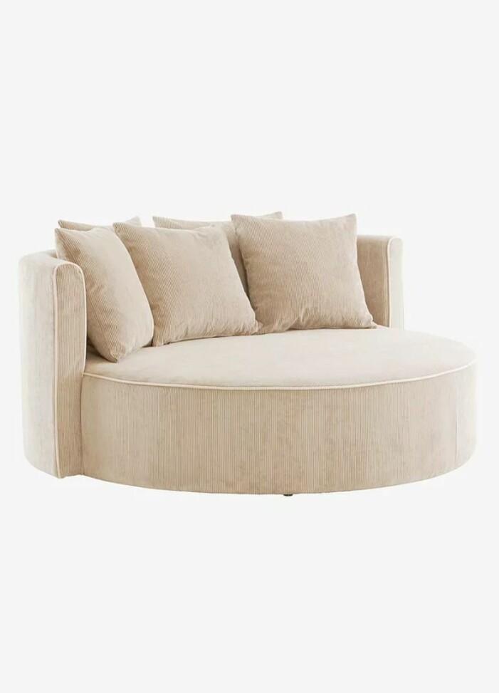 Rund soffa i manchesterklädsel