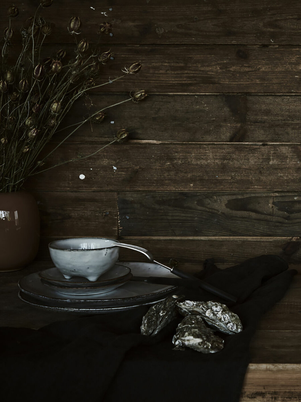 rustikt, skål + gaffel