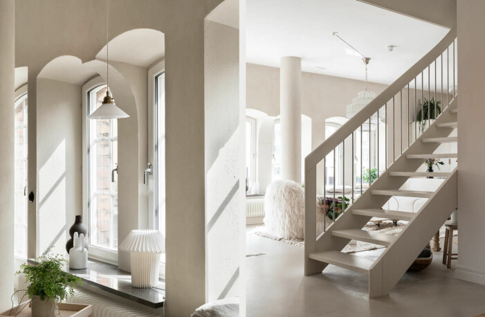 Etagelägenhet i Saltsjökvarn sex rum och balkong trappa