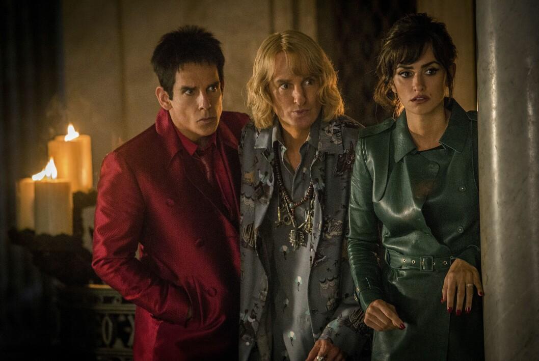 Ben Stiller, Owen Wilson och Penelope Cruz i en scen ur filmen Zoolander 2.