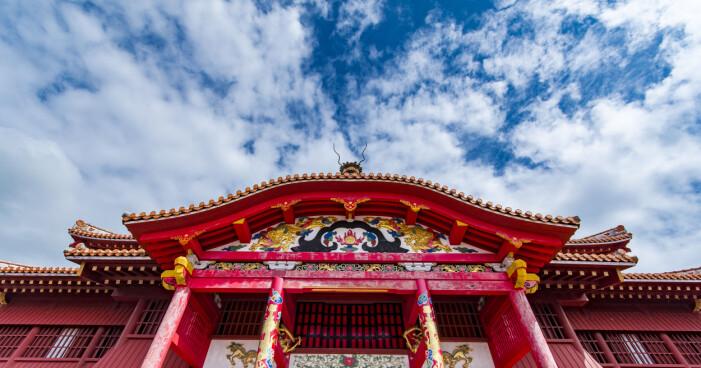 Slottet Shuri-jo i Okinawa i Japan