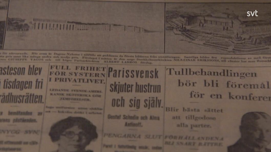 Onsdagen den 6 juli 1927 på första sidan av Dagens Nyheters står det på löpsedeln: »Parissvensk skjuter hustrun och sig själv«.