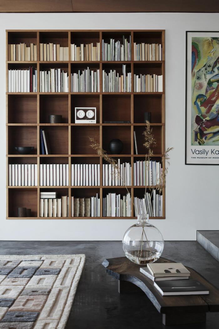 bokhylla med snygg högtalare från transparent sounds