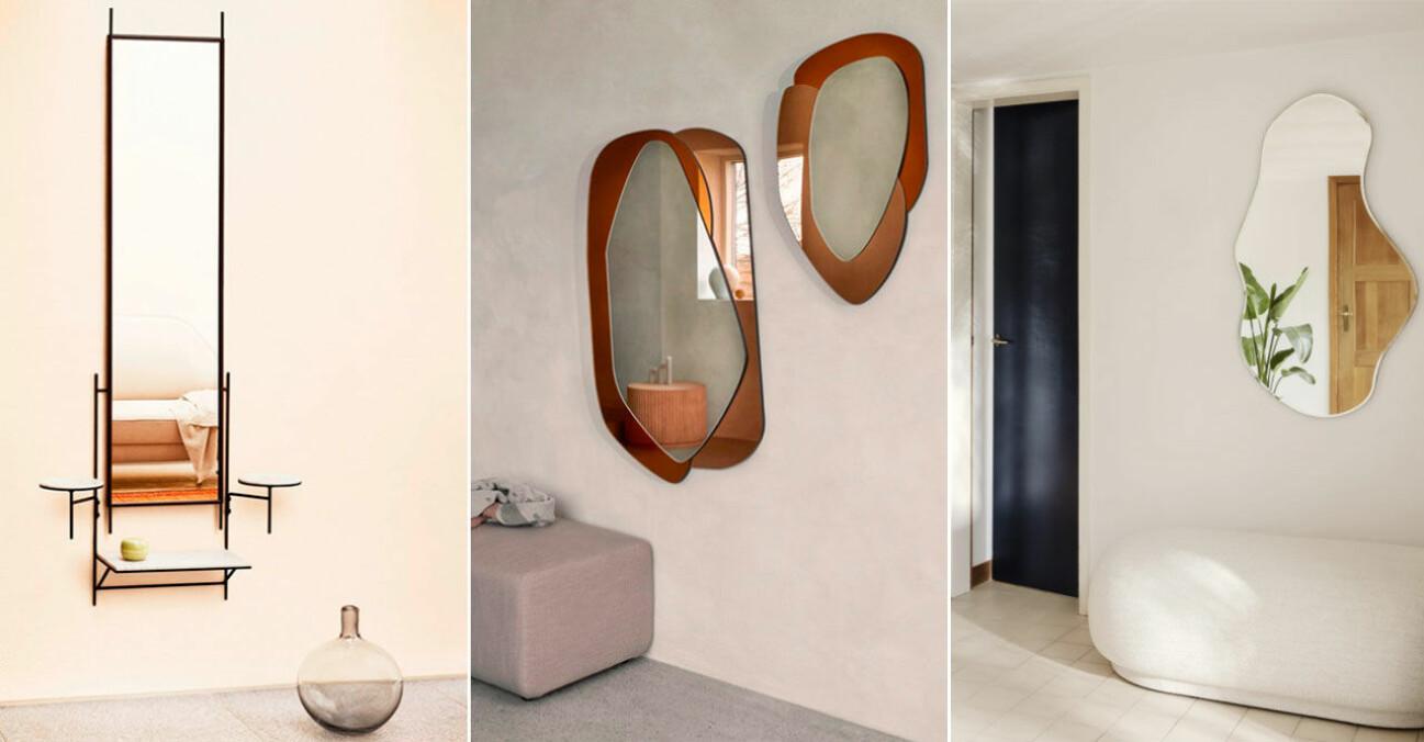 Stora speglar för hallen och vardagsrummet
