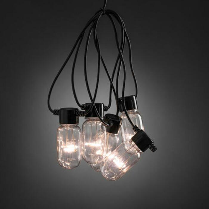 Svart ljusslinga med ovala lampor från Granit